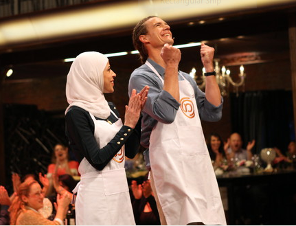 Salma Fiyumi applauds Tom Franz, this year's Master Chef winner (Courtesy Master Chef)