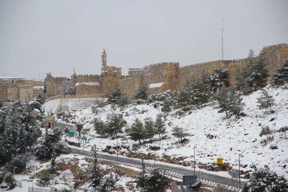 The Old City walls, viewed from southern Jerusalem (photo credit: Yishai Cohen)