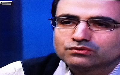 Mohammad Reza Heydari, interviewed on Israel's Channel 2, January 25 (photo credit: Channel 2 screenshot)