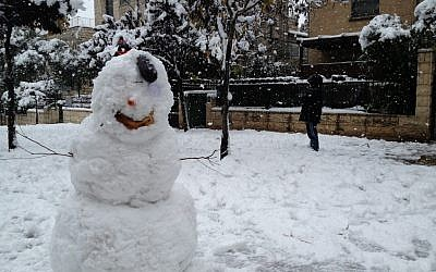 A snowman in Jerusalem, Thursday, January 10, 2013 (photo credit: Raphael Ahren/Times of Israel)