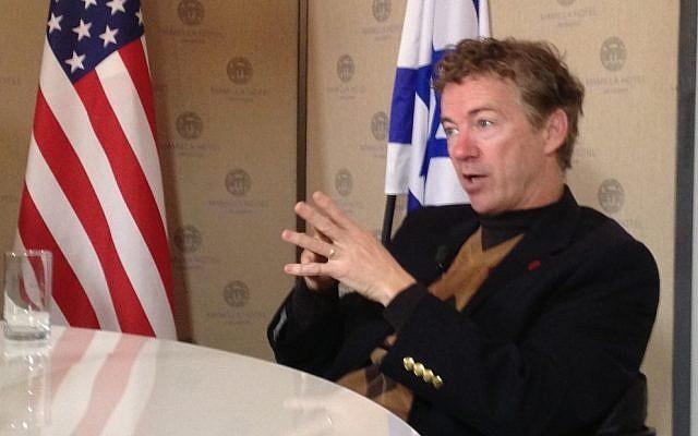 Sen. Rand Paul in Jerusalem, January 12, 2013 (photo credit: Raphael Ahren/Times of Israel)
