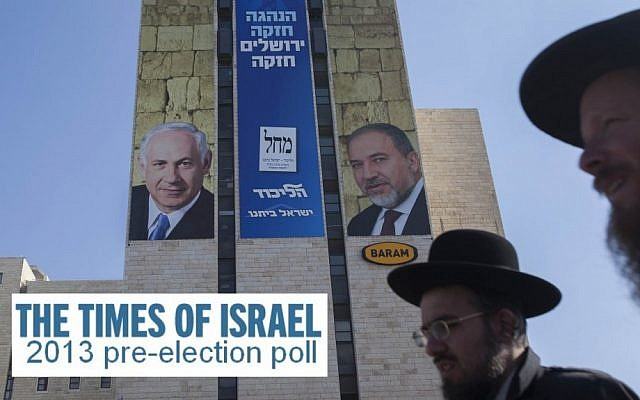 Ultra-Orthodox Jews walk in front of campaign posters for the Likud-Beytenu list in Jerusalem, this week. (Photo credit: Yonatan Sindel/Flash90)