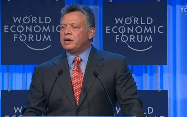 King Abdullah II of Jordan speaks at the World Economic Forum in Davos, Friday.