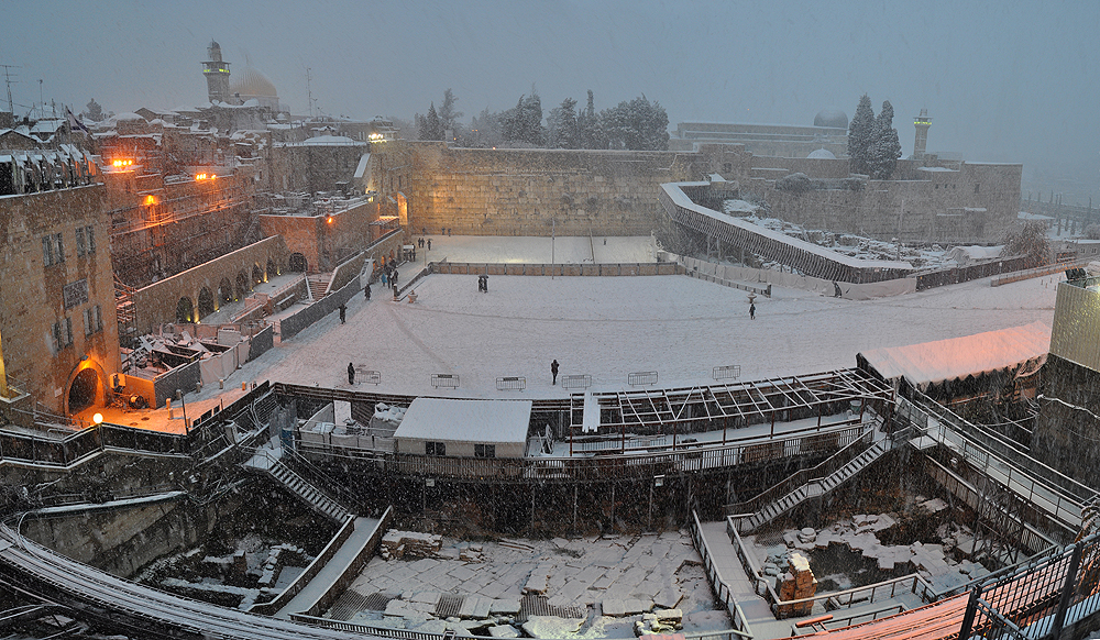The Western Wall plaza is covered with snow on Thursday, January 10, 2013 (photo credit: Mike Horton)