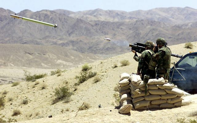 Troops firing an anti-aircraft missile during training. (photo credit: Manuel Valdez, US Marine Corps/Department of Defense)