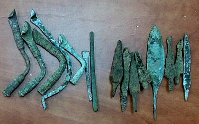 Some of the artifacts seized in an Israel Antiquities Authority raid in northern Israel (photo credit: Courtesy of the Israel Antiquities Authority)