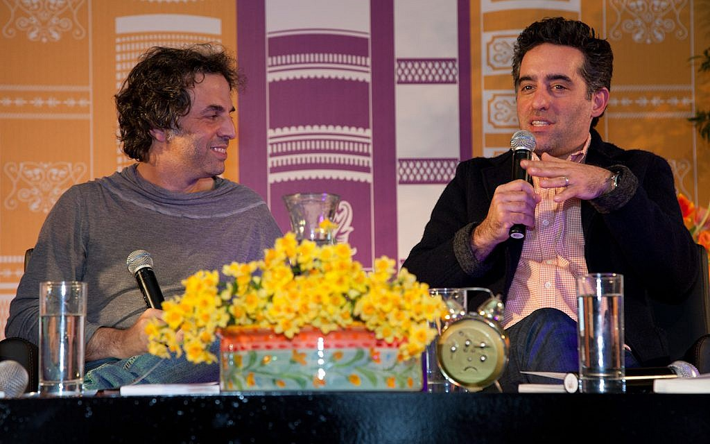 Etgar Keret (left) and Nathan Englander, the BFF writers talking about their translations of one another's work at Jerusalem's International Book Fair last Wednesday night (photo credit: Dudi Saad)