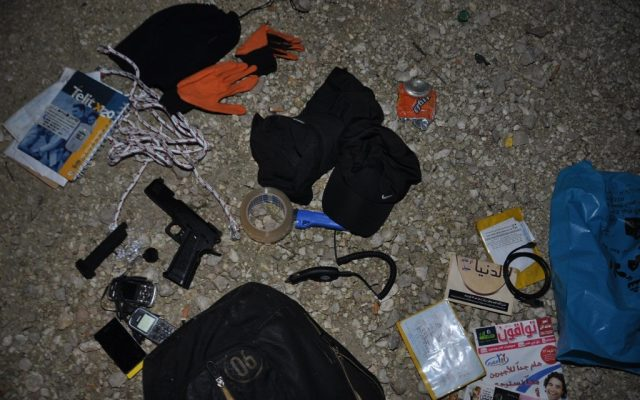 Kidnapping equipment seized from the terrorists arrested near the Eyal Junction on New Year's Day 2013 (photo credit: Shin Bet)