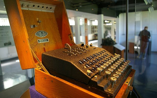 An Enigma machine on display at Bletchley Park. (CC BY SA Flickr/Tim Gage)