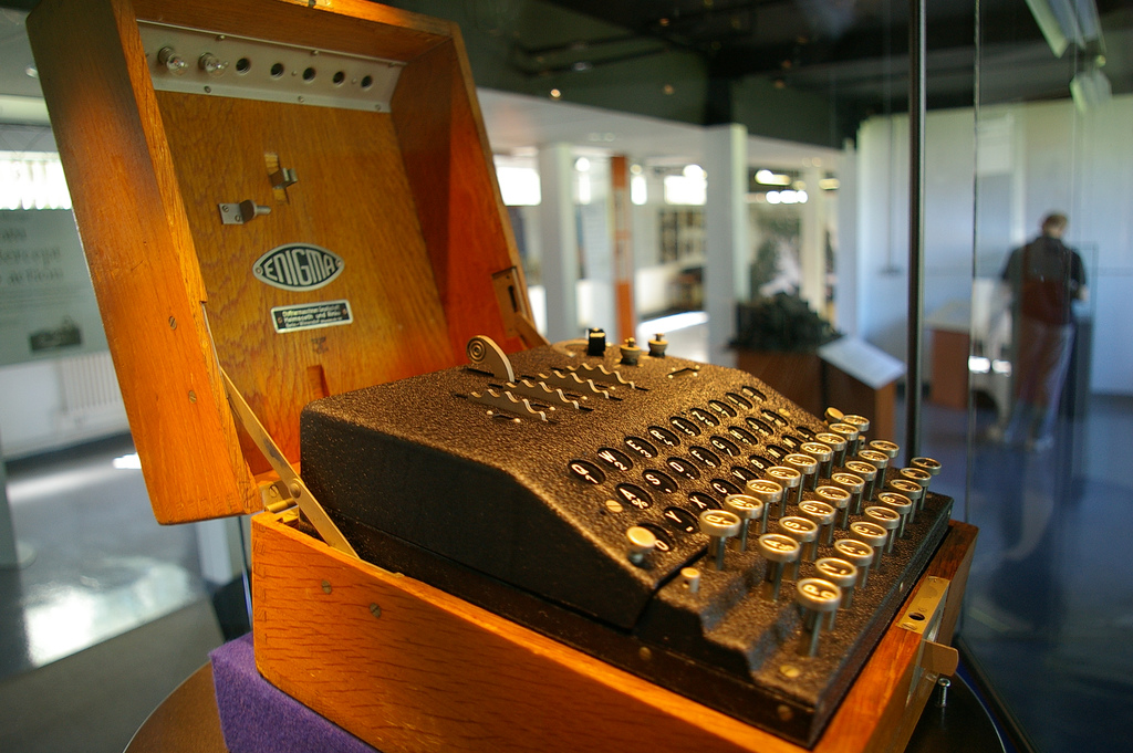An Enigma machine on display at Bletchley Park. (photo credit: CC BY SA Flickr/Tim Gage)