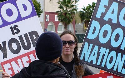 Megan Phelps-Roper in a previous life, picketing the Oscars. (photo credit: CC BY-SA k763, Flickr)