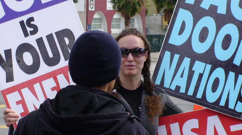 Megan Phelps-Roper picketing the Oscars (photo credit: CC BY-SA k763, Flickr)