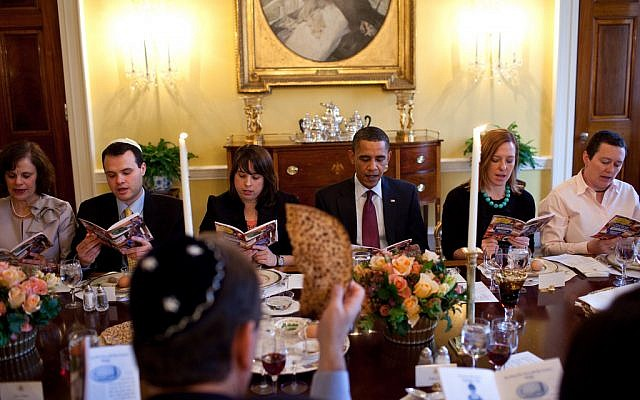 President Obama hosting a Passover Seder at the White House in 2012. (photo credit: Pete Souza/The White House)