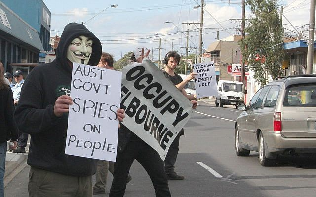 Australians protesting government activities in Melbourne last year. (photo credit: CC BY-SA takver, Flickr)