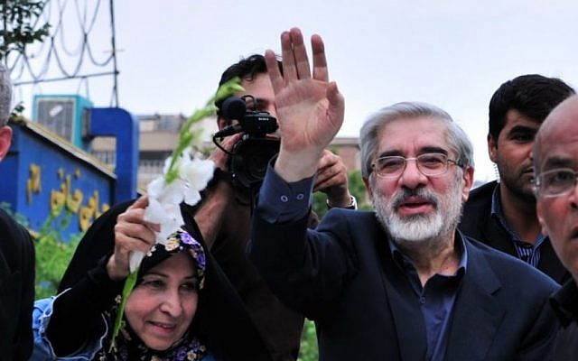 Iranian opposition leader Mir Hossein Mousavi at a rally in Tehran, 2009 (photo credit: CC BY-Hamed Saber/Wikimedia Commons)