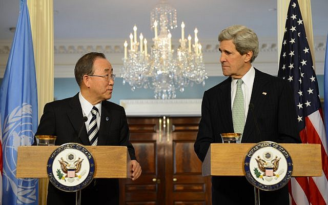 US Secretary of State John Kerry (right), and United Nations Secretary-General Ban Ki-moon address reporters after their meeting at the US Department of State in Washington, D.C., February 14 (photo credit: US State Department)