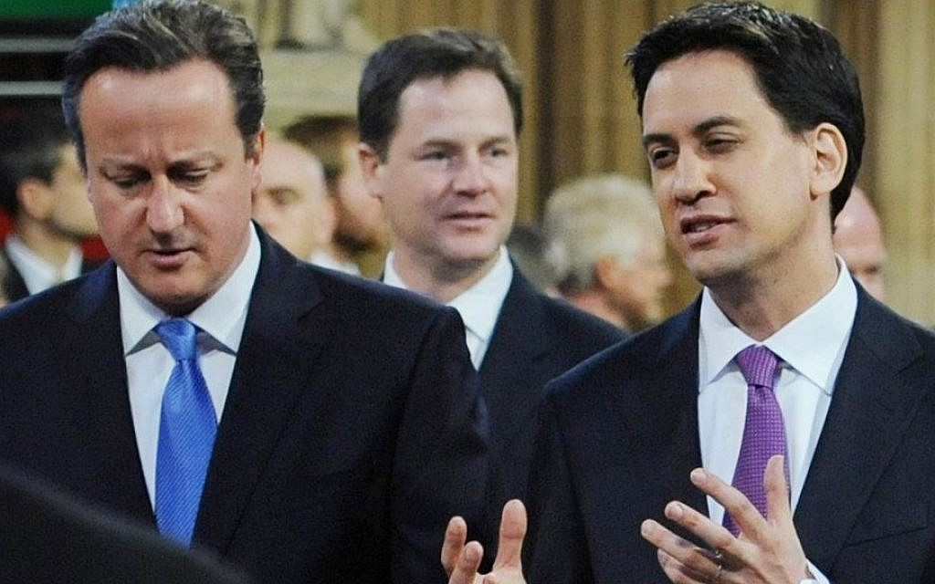 Labour leader Ed Miliband (right), with Prime Minister David Cameron at the State Opening of Parliament in 2012. (photo credit: AP Photo/Stefan Rousseau/PA Wire, Pool)
