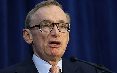 Australian Foreign Minister Bob Carr speaks during a news conference at the annual Australia-United States Ministerial Consultations, Wednesday, Nov. 14, 2012, in Perth, Australia. (photo credit: AP/Matt Rourke)