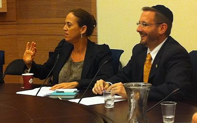 MK Ruth Calderon (left) sits next to fellow Yesh Atid MK Dov Lipman as she leads the Torah study session in the Knesset on Tuesday, February 19, 2013. (photo credit: Benjy Goldberg)