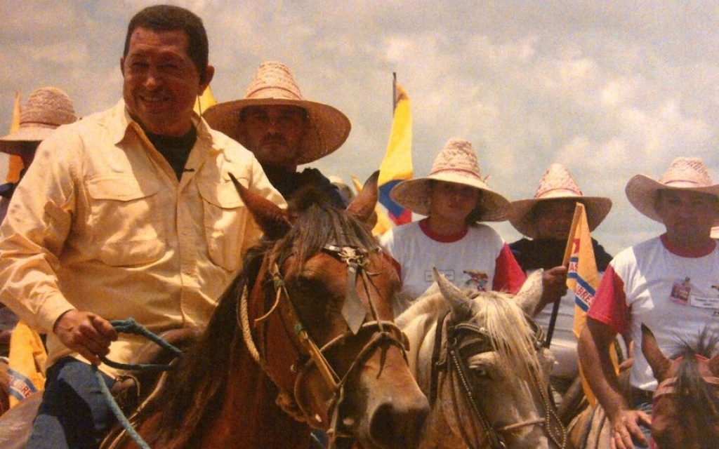 This photo of Venezuelan President Hugo Chavez riding a horse was found in a cache of leaked documents attributed to SEBIN, the country's secret service, in 2010. (photo credit: Analises24/JTA)