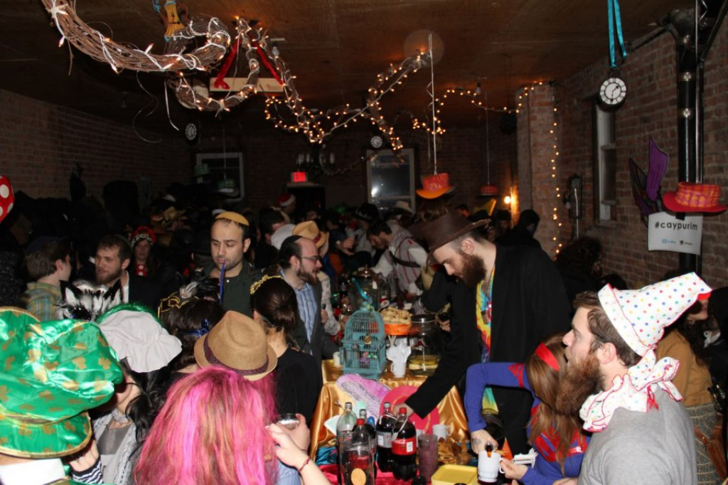 Purim inspired lively celebrations at Brooklyn's Chevra Ahavas Yisroel, a new synagogue breaking down rigid social norms within the Chabad community. (Courtesy of Chevra Ahavas Yisroel via JTA)