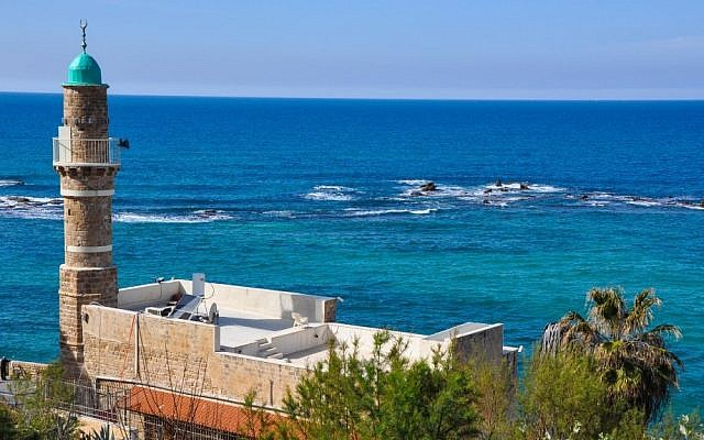 A view of the shoreline and al-Bahr Mosque from Jaffa's old city (photo credit: Michal Shmulovich/Times of Israel)