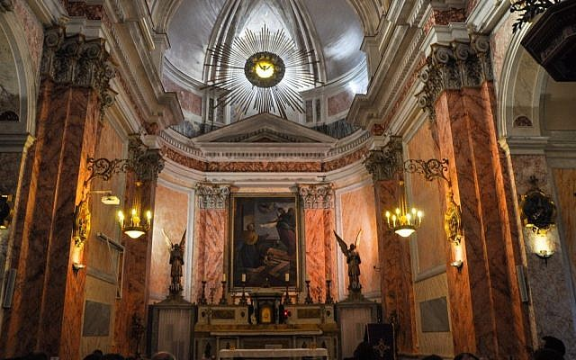 Inside Saint Peter's Church (photo credit: Michal Shmulovich/Times of Israel)