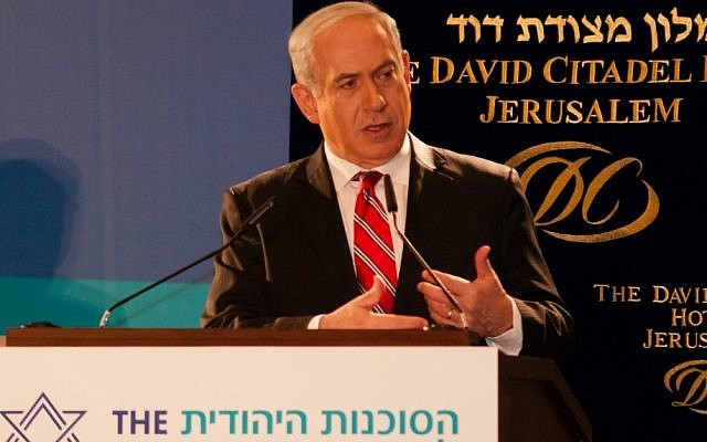 Prime Minister Benjamin Netanyahu speaking earlier this month. (photo credit: Dave Bender, Jewish Agency for Israel)