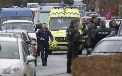 Danish police attend the crime scene after a shooting incident, Tuesday, Feb. 5, 2013, in Copenhagen, Denmark. The Danish writer and prominent Islam critic, Lars Hedegaard, survived an attempted assassination Tuesday at his home in Copenhagen (photo credit: Jens Dresling, POLFOTO/AP)