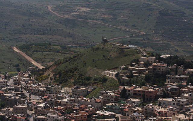 An Israeli watchtower above the Druze village of Majdal Shams, near the Israeli-Syrian border (photo credit: Lior Mizrahi/Flash90)