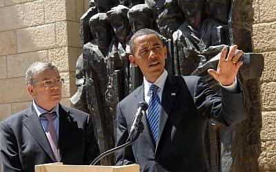 Barack Obama  visiting Yad Vashem as a senator in 2008. (photo credit:  Meir Azulay/Pool/Flash90)