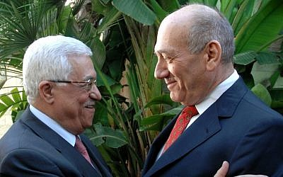 Former PM Ehud Olmert meets with Palestinian Authority President Mahmoud Abbas in Jerusalem, November 2008. (photo credit: Moshe Milner GPO/Flash90)
