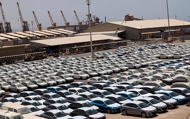 Illustrative photo of new cars at the port of Eilat on their way to being sold in Israel, July 2009. (photo credit: Yossi Zamir/Flash90)