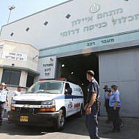 An ambulance exits the Ayalon Prison in Ramle. (Yossi Aloni/Flash90)