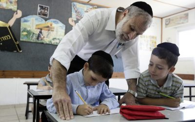Ultra-Orthodox Children in a Jerusalem classroom, August 2009 (photo credit: Abir Sultan/Flash90)