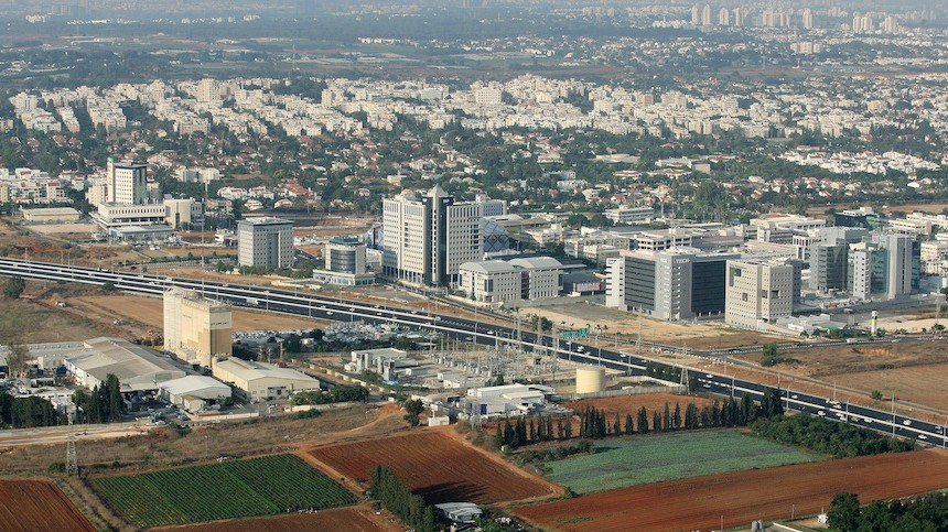 Aerial view of the Ra'anana tech industrial zone (Photo credit: Moshe Shai/FLASH90)