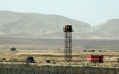An Egyptian watchtower overlooking the Israeli border with Egypt (photo credit: Moshe Shai/Flash90)