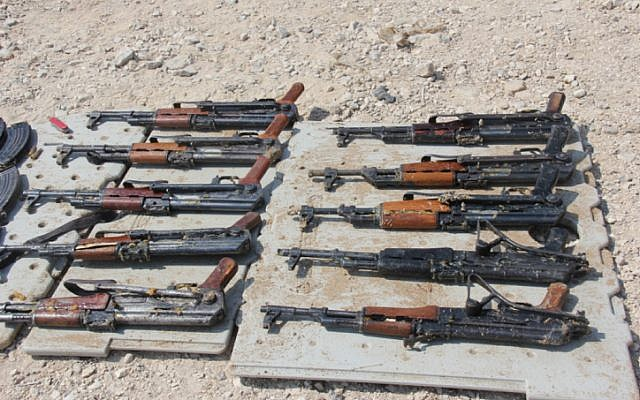 Smuggled weapons captured by IDF forces in February  (photo credit: Dotz/Flash90)