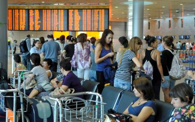 The departure terminal at Ben-Gurion Airport (Yossi Zeliger/Flash90)