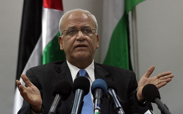 Saeb Erekat, chief Palestinian negotiator (photo credit: Issam Rimawi/Flash90/File)