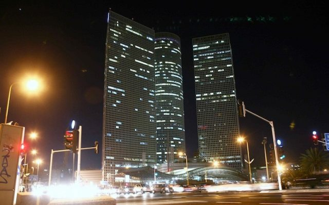 Tel Aviv's Azrieli Center by night (Photo credit: Yehoshua Yosef/Flash90)