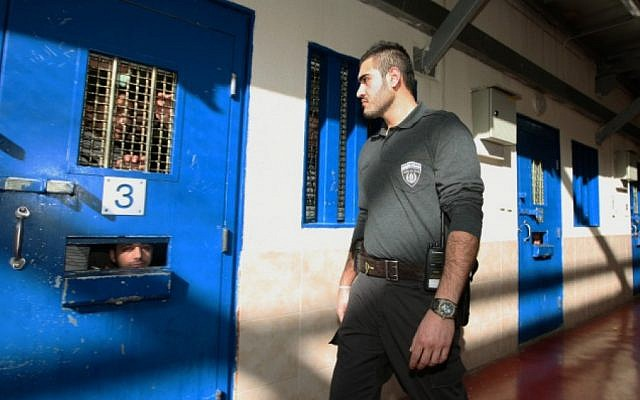 A prison guard at the Ofer Prison outside the West Bank city of Ramallah, February 2012 (photo credit: Moshe Shai/Flash90)