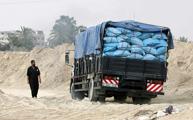 A truck carrying goods from smuggling tunnels near the Egypt-Gaza border. (photo credit: Abed Rahim Khatib/Flash90)