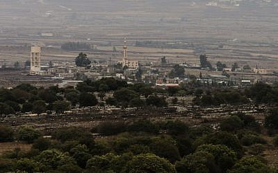 View of the Syrian village of Bir Ajam from northern Israel on November 11, 2012 (photo credit: Flash90)