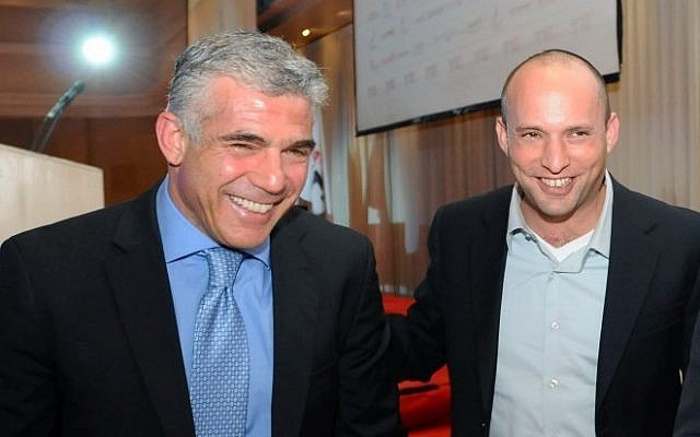Yesh Atid leader Yair Lapid (L) and Jewish Home party head Naftali Bennett at a conference in Ramat Gan, December 17, 2012 (photo credit: Yossi Zeliger/Flash90)