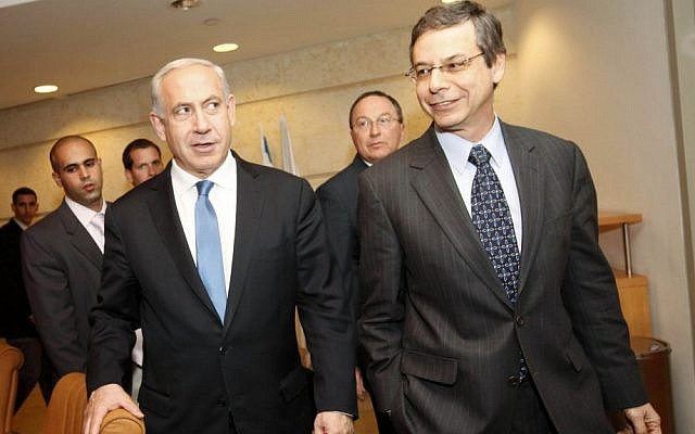 Deputy Minister of Foreign Affairs Danny Ayalon with Prime Minister Benjamin Netanyahu prior to a conference for ambassadors and international diplomats at the Foreign Ministry in Jerusalem on January 03, 2013. (Photo credit: Miriam Alster/FLASH90)