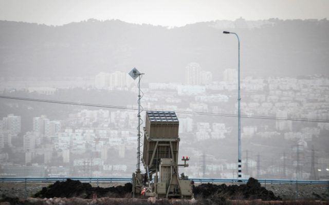 An Iron Dome battery stationed in the north near the city of Haifa, January 2013. (photo credit Avishag Shaar Yashuv/Flash 90)