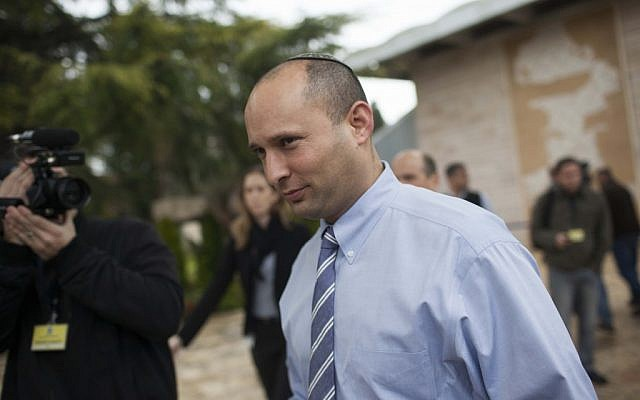 Jewish Home head Naftali Bennett after meeting with President Shimon Peres in Jerusalem on January 31, 2013. (photo credit: Miriam Alster/Flash90)