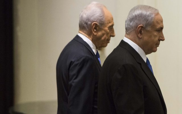 Benjamin Netanyahu, left, and Shimon Peres, leaving a ceremony Saturday night. (photo credit: Yonatan Sindel/Flash90)
