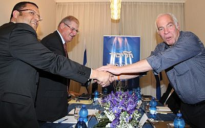 Uri Ariel of the Jewish Home party seen with  Likud representatives at coalition talks meeting earlier in the month (photo credit: Gideon Markowicz/Flash90)
